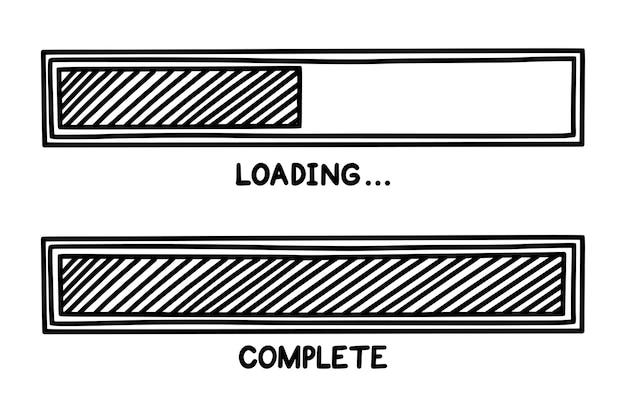 완료 상태가 있는 진행 로드 막대 인포 그래픽 디자인 요소