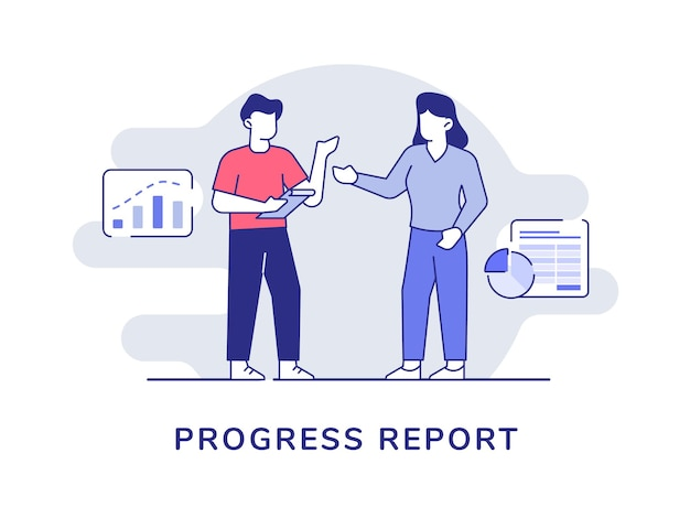 진행 프로젝트 보고서 남자와 여자는 현대 평면 스타일 문자 라인 벡터 일러스트와 함께 프레젠테이션을