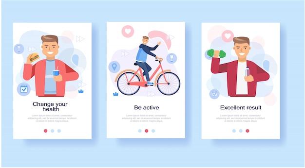 進歩的な減量男性、自転車で健康的なフィットネススポーツライフスタイルを食べる食事の段階