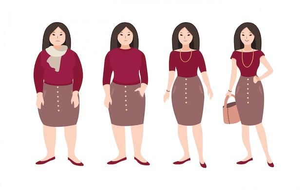 Прогрессивные шаги по изменению тела молодой женщины мультфильма. понятие о потере веса с помощью фитнес-тренировок и правильного питания. иллюстрации.