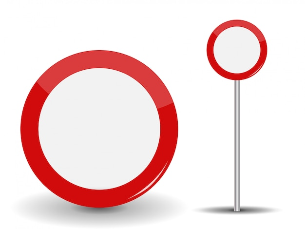 Prohibiting travel round red road sign.