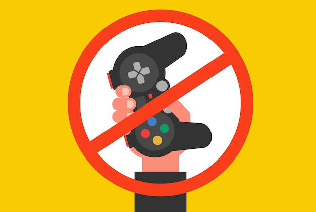 Prohibition of computer games for children. flat vector illustration.