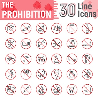 Prohibition line icon set, forbidden signs collection