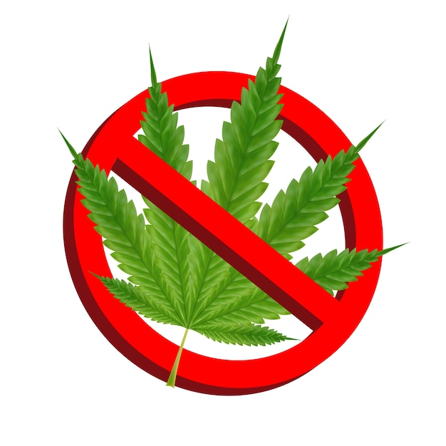 Prohibition signs with green marijuana leaf vector