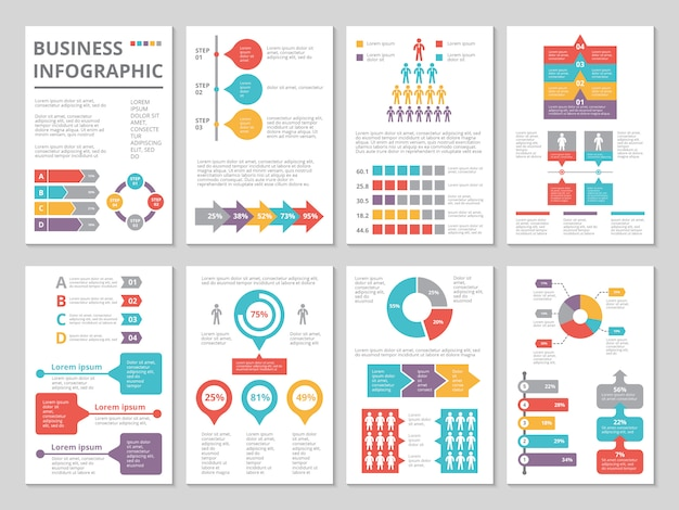 Project of business annual report with infographic