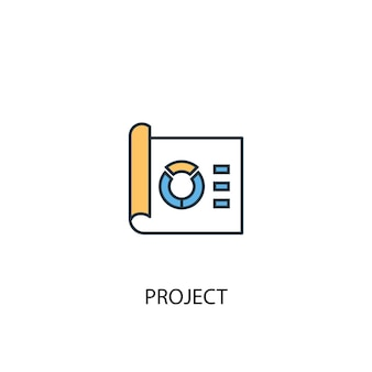 Project concept 2 colored line icon. simple yellow and blue element illustration. project concept outline symbol design