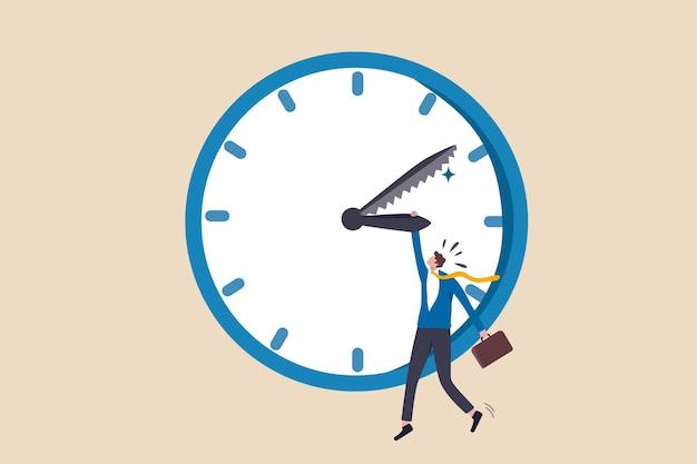 プロジェクトの締め切り、仕事のコンセプトを完了するための合意タイムラインの時間カウントダウン、分針が予定時間に経過するのを見ながら時計の時針を握っている欲求不満のストレスビジネスマン。