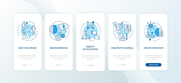 Project development tips onboarding mobile app page screen with concepts. effective leadership walkthrough 5 steps graphic instructions. ui vector template with rgb color illustrations