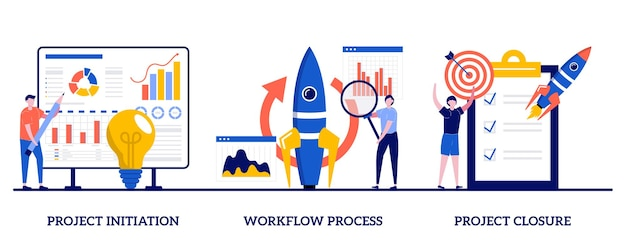 プロジェクトの開始と終了、小さな人々とのワークフロープロセスの概念