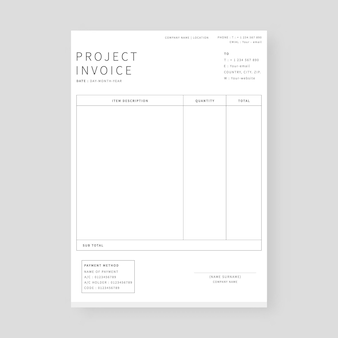 Project invoice template modern invoice layout template
