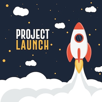 Project Launch or Startup Dark Blue Sky Background Abstract