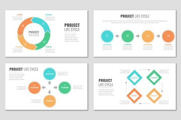 Жизненный цикл проекта в плоском дизайне