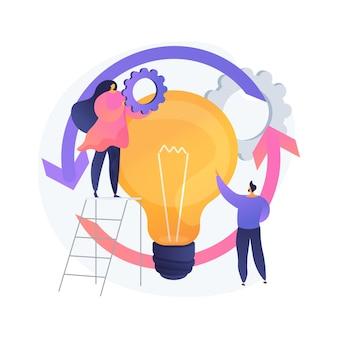 プロジェクトのライフサイクルの抽象的な概念のベクトル図。成功したプロジェクト管理、プロジェクト完了の段階、タスクの割り当て、ビジネスケース、リソース要件の抽象的なメタファー。