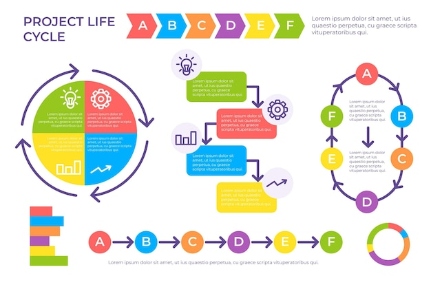 Project life cycle in flat design