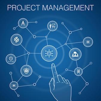 Концепция управления проектом, синий фон. презентация проекта, встреча, рабочий процесс, значки управления рисками