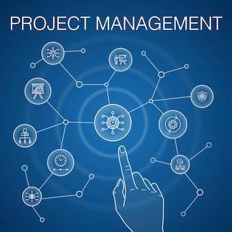 プロジェクト管理の概念、青い背景。プロジェクトのプレゼンテーション、会議、ワークフロー、リスク管理のアイコン