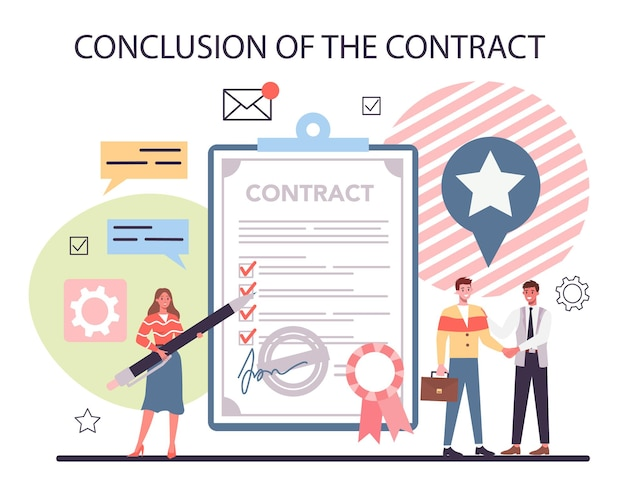 Project management concept. conclusion of the contract. marketing analysis and development.