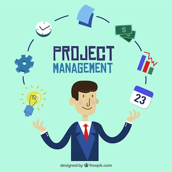 Project management concept in flat style