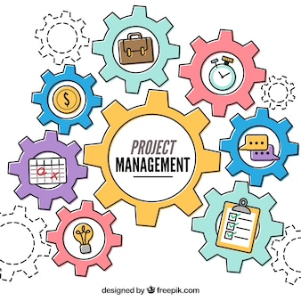 Project management concept in flat style with gear wheels