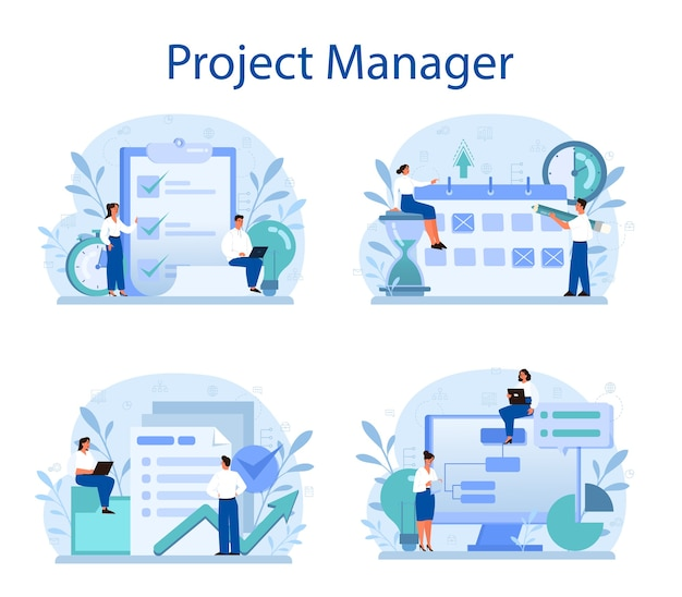 Project management concept set.