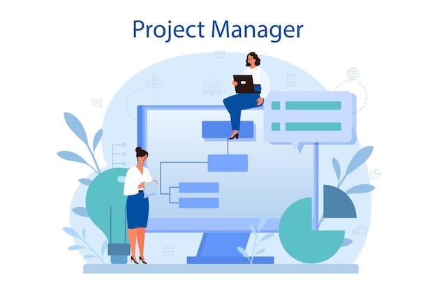 프로젝트 관리 개념. 성공적인 전략, 동기 부여 및 리더십. 분석 및 개발.