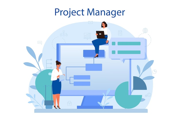 Project management concept. successful strategy, motivation and leadership. analysis and development.