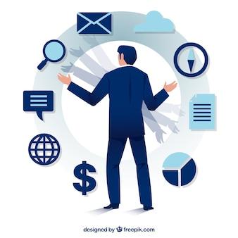 파란 사업가와 프로젝트 관리 개념
