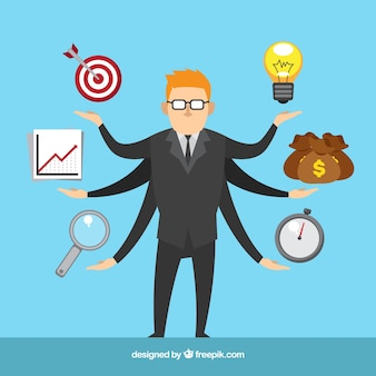 Project management concept with businessman