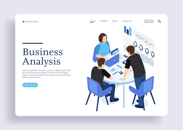 Project management and financial report strategy analysis consulting team isometric concept