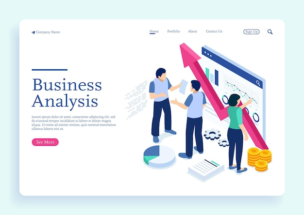 Project management and financial report strategy and analyzing business growth with characters