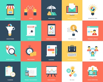 Project Management Flat Icons Pack