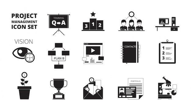 Project management icon. work planning office managers productivity team manage business processes vector black symbols