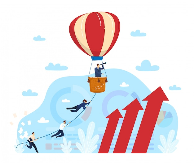 Project management illustration, cartoon flat businessman manager using telescope looking for success, trendy projects