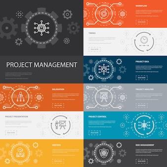 Управление проектами инфографика 10 линейных значков баннеров. презентация проекта, встреча, рабочий процесс, простые значки управления рисками