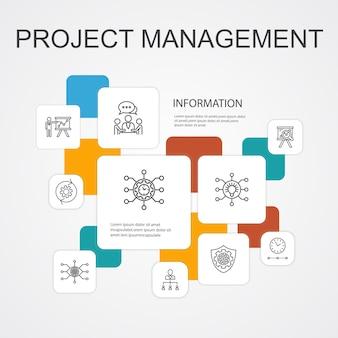Шаблон 10 линейных значков инфографики управления проектами. презентация проекта, встреча, рабочий процесс, простые значки управления рисками