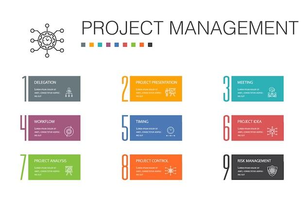 Концепция линии 10 вариантов инфографики управления проектами. презентация проекта, встреча, рабочий процесс, простые значки управления рисками