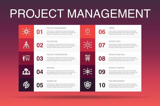 Шаблон опций infographic 10 для управления проектами. презентация проекта, встреча, рабочий процесс, простые значки управления рисками