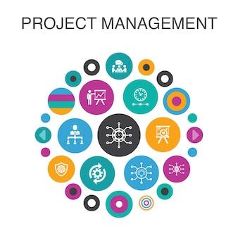 Концепция круга управления проектами инфографики. умные элементы пользовательского интерфейса презентация проекта, встреча, рабочий процесс, управление рисками