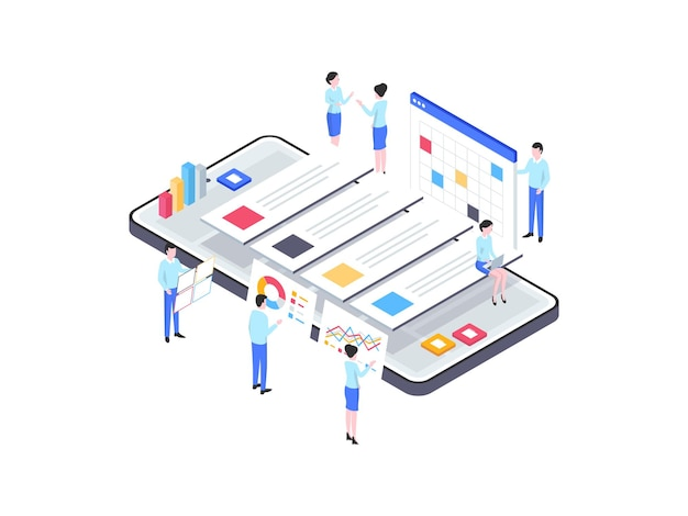 プロジェクト管理アイソメ図。モバイルアプリ、ウェブサイト、バナー、図、インフォグラフィック、その他のグラフィックアセットに適しています。