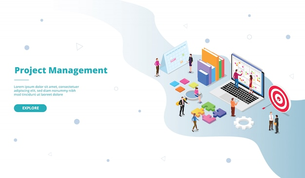 Project management landing page template in isometric style