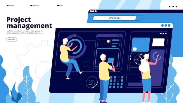 Project management landing. tiny guys manage charts on dashboard, people projecting software. teamwork brainstorming vector concept. project software, teamwork management and development illustration