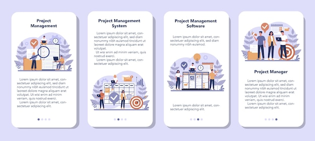 Project management mobile application banner set. successful strategy, motivation and leadership. marketing analysis and development. vector illustration in cartoon style
