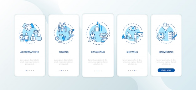 Project management onboarding mobile app page screen with concepts