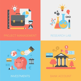 Project management, research lab, investments, bank account icons set.