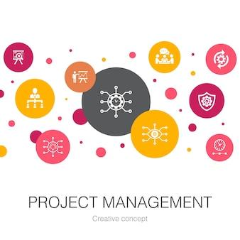 Шаблон модный круг управления проектами с простыми значками. содержит такие элементы, как презентация проекта, встреча, рабочий процесс, управление рисками.