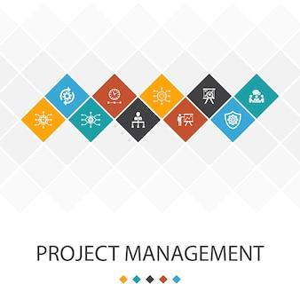Концепция инфографики модного пользовательского интерфейса управления проектами. презентация проекта, встреча, рабочий процесс, значки управления рисками