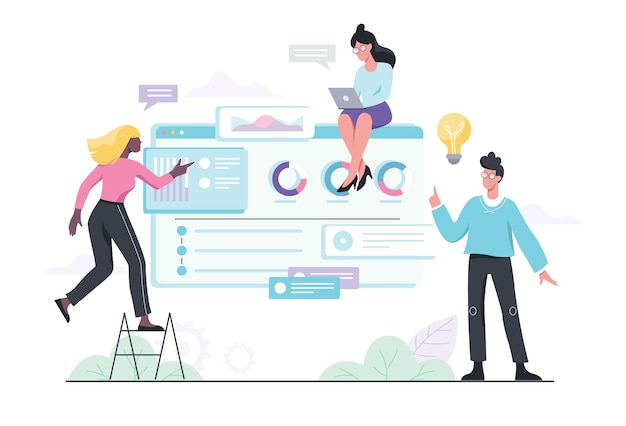 Project management web banner concept. idea of business plan and strategy. marketing analysis and development.  illustration in cartoon style