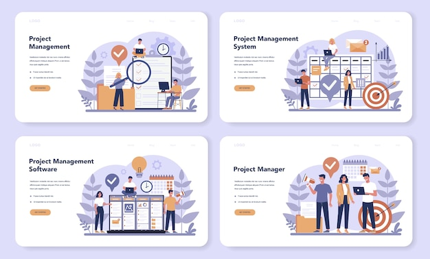 Project management web banner or landing page set