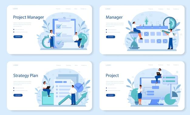 Project management web banner or landing page set