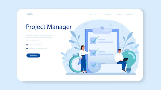 Project management web banner or landing page